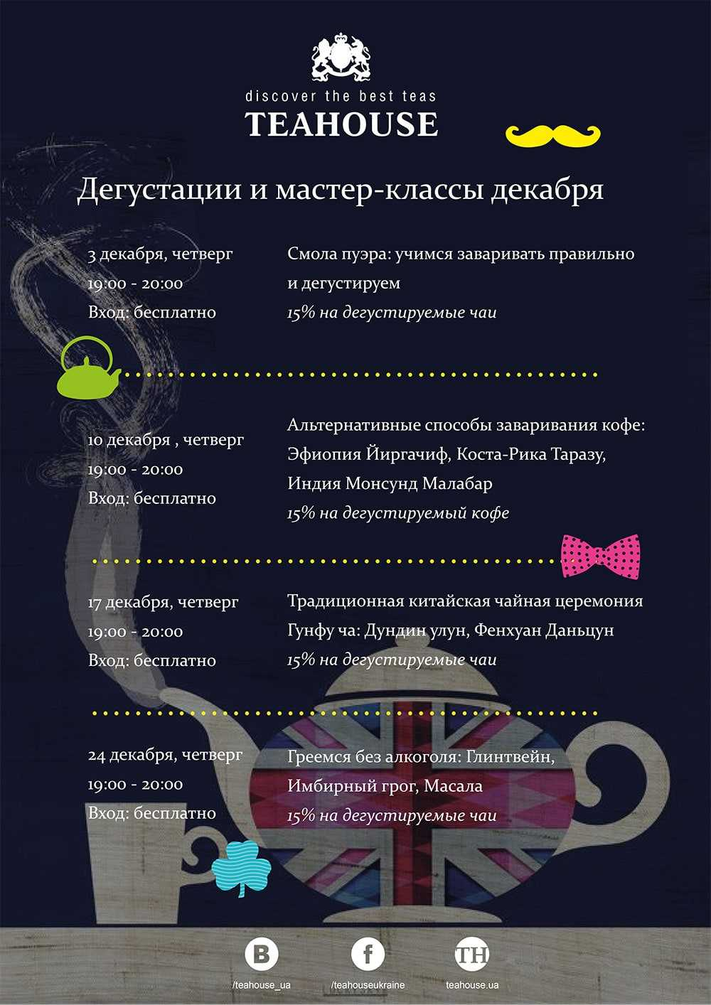 Бесплатные мастер-классы и дегустации декабря