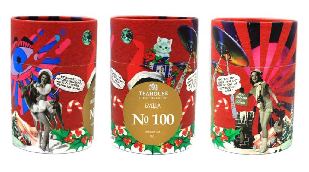 Чай в новогодних тубусах